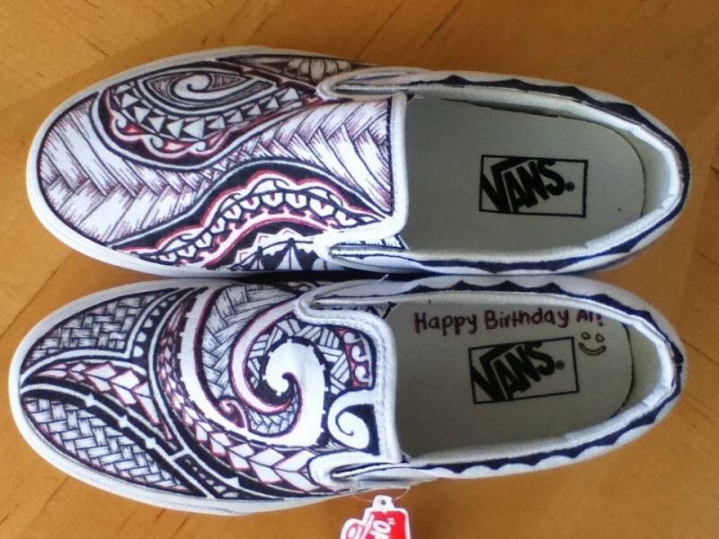 550b9567ca Polynesian Design Custom Vans. Maybe save money by getting white vans and  drawing it myself.