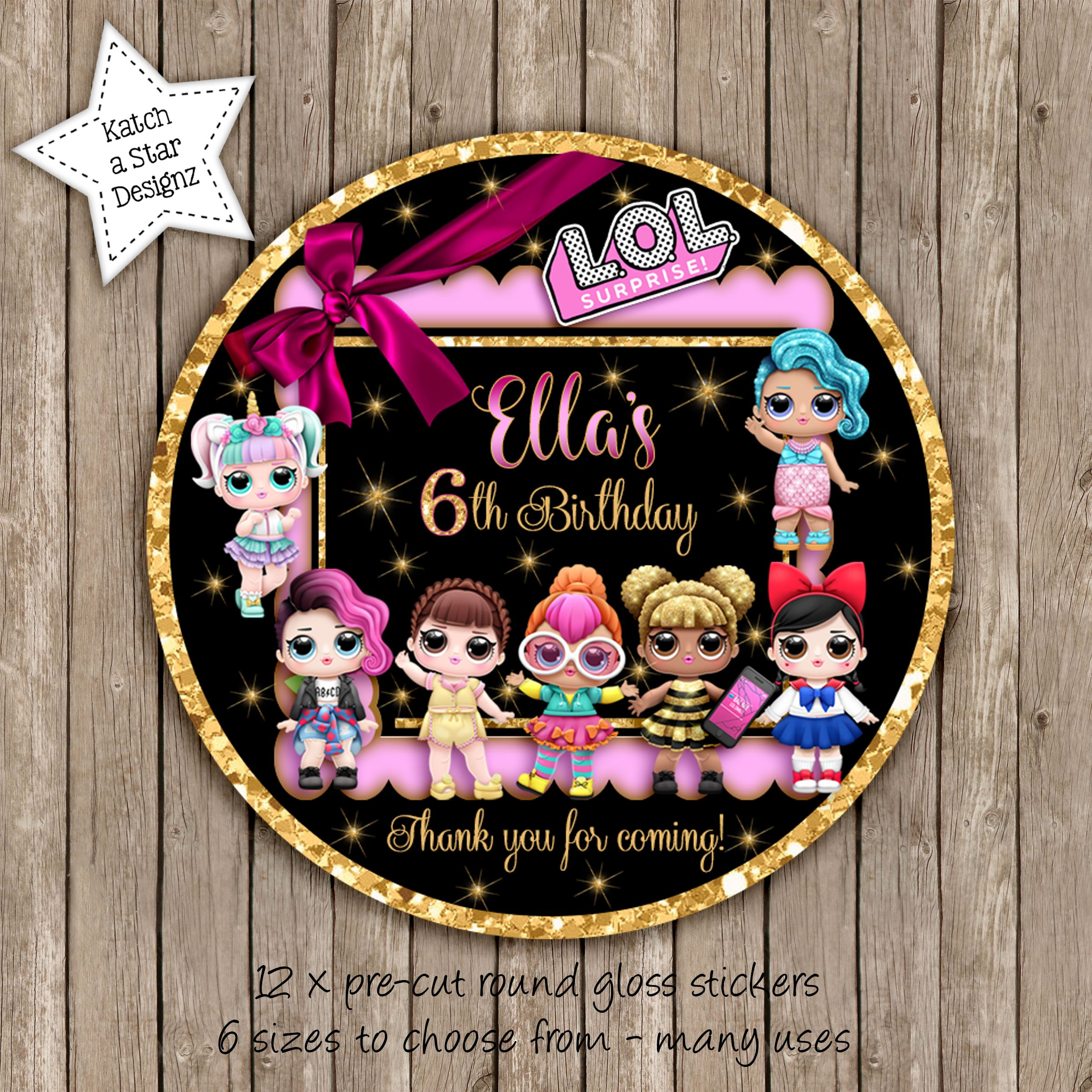 PERSONALISED PARTY BAG CONE FAVOUR ADDRESS LABEL STICKERS LOL SURPRISE DOLLS 2