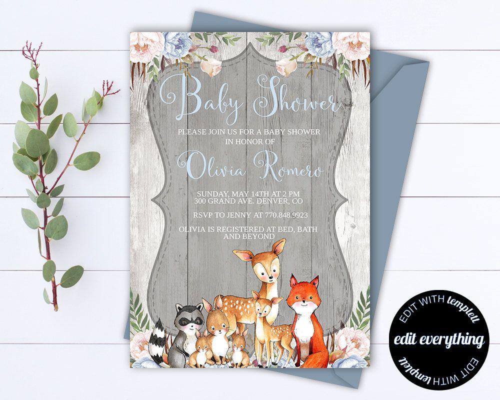 Rustic Baby Shower Invitation Boy Baby Shower Invite Woodland Animal - Animal baby shower invitations templates