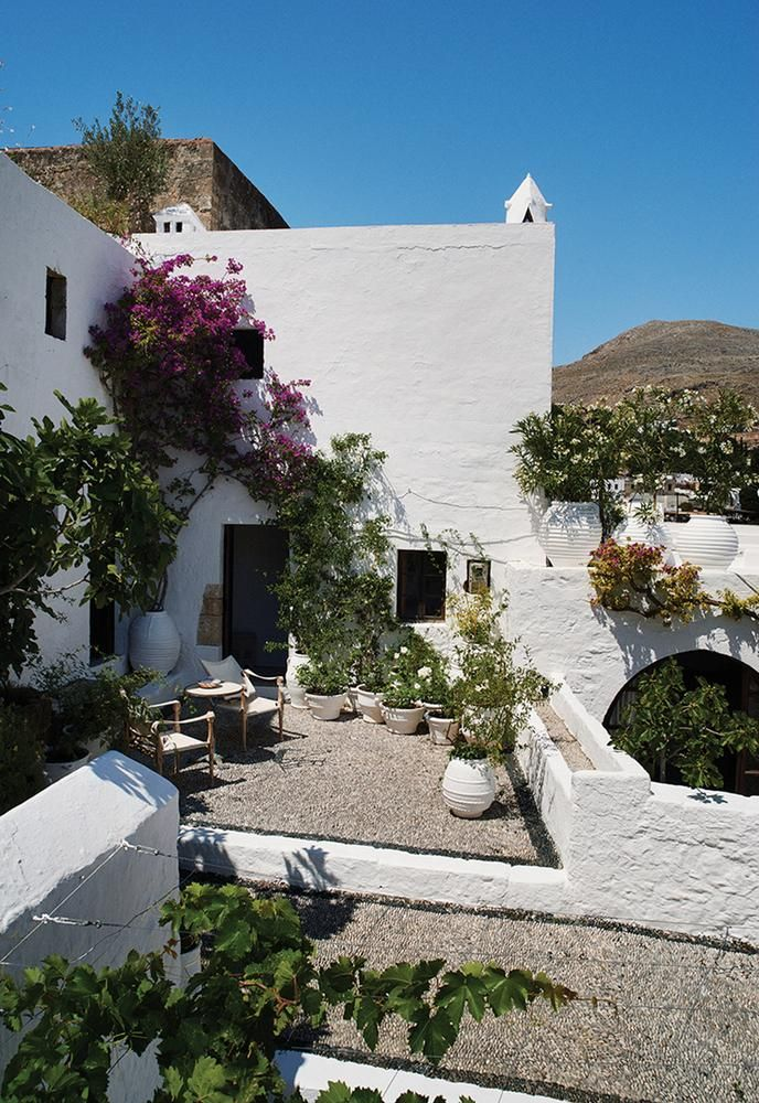 A Place In The Sun White Blooming Roses Honeysuckle And Jasmine In Pots Fill The Terrace Of The Guesthouse Greek Garden Greek Vacation Mediterranean Decor