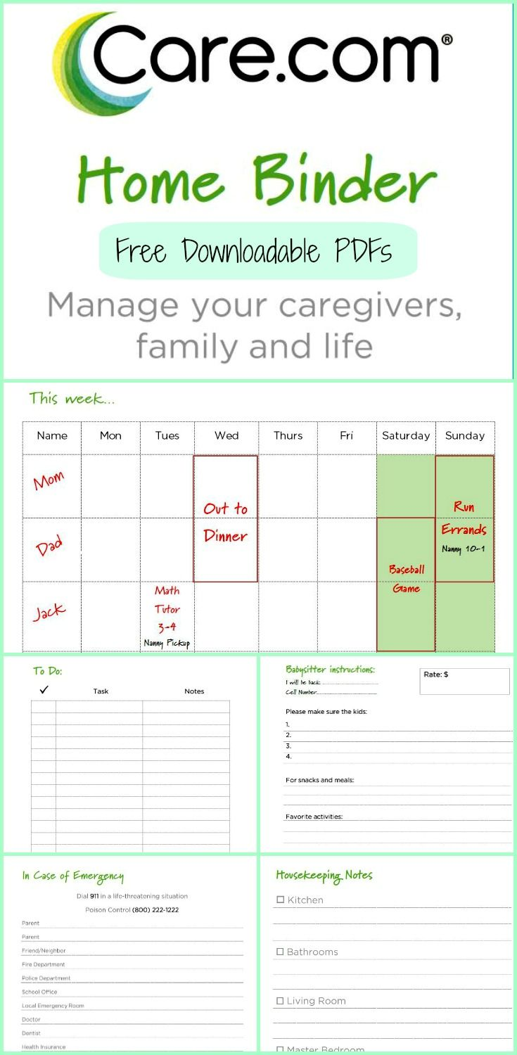 the care com home binder organize organizing organized