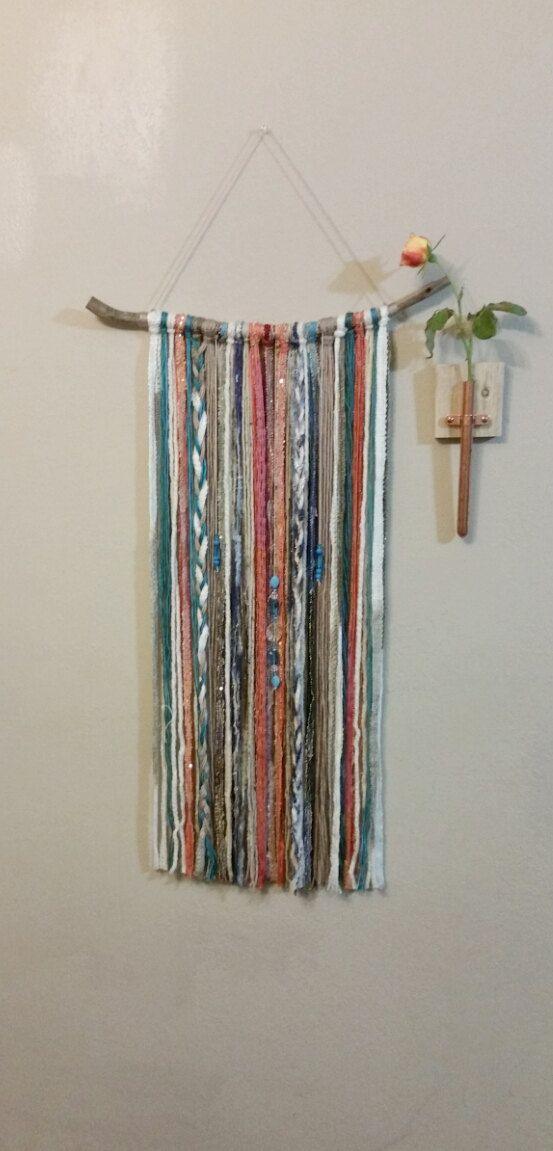 Bohemian yarn tapestry yarn wall hanging southwestern for Yarn wall art