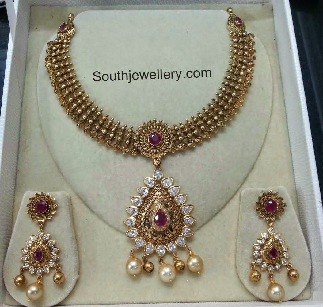 Antique necklace with cz stones saree jawells pinterest