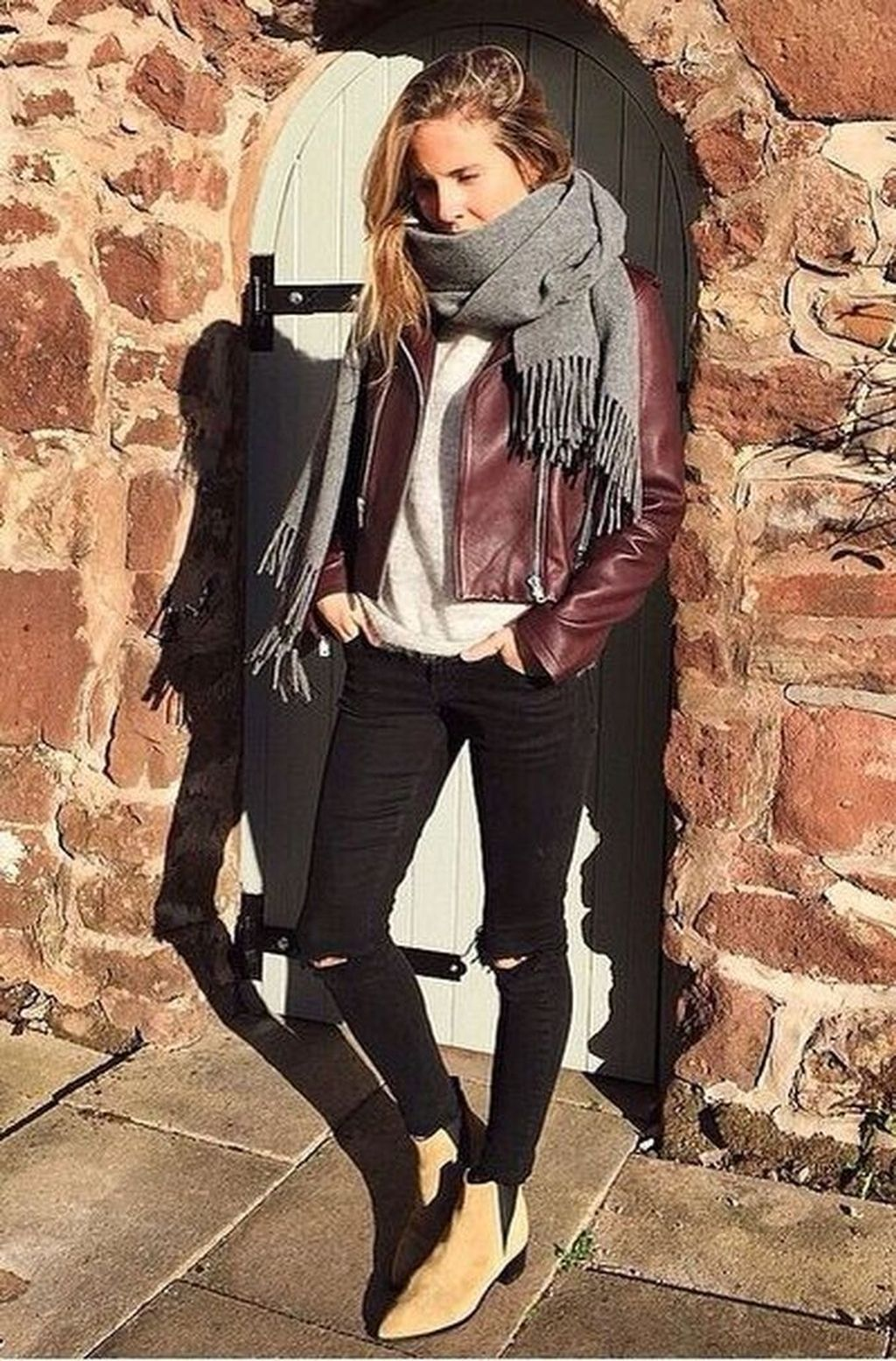 Dress & Outfits Burgundy leather jacket outfit, Burgundy