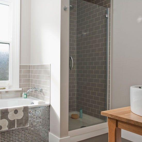 Traditionelles bad mitte des jahrhunderts wohnideen - Graues badezimmer ...