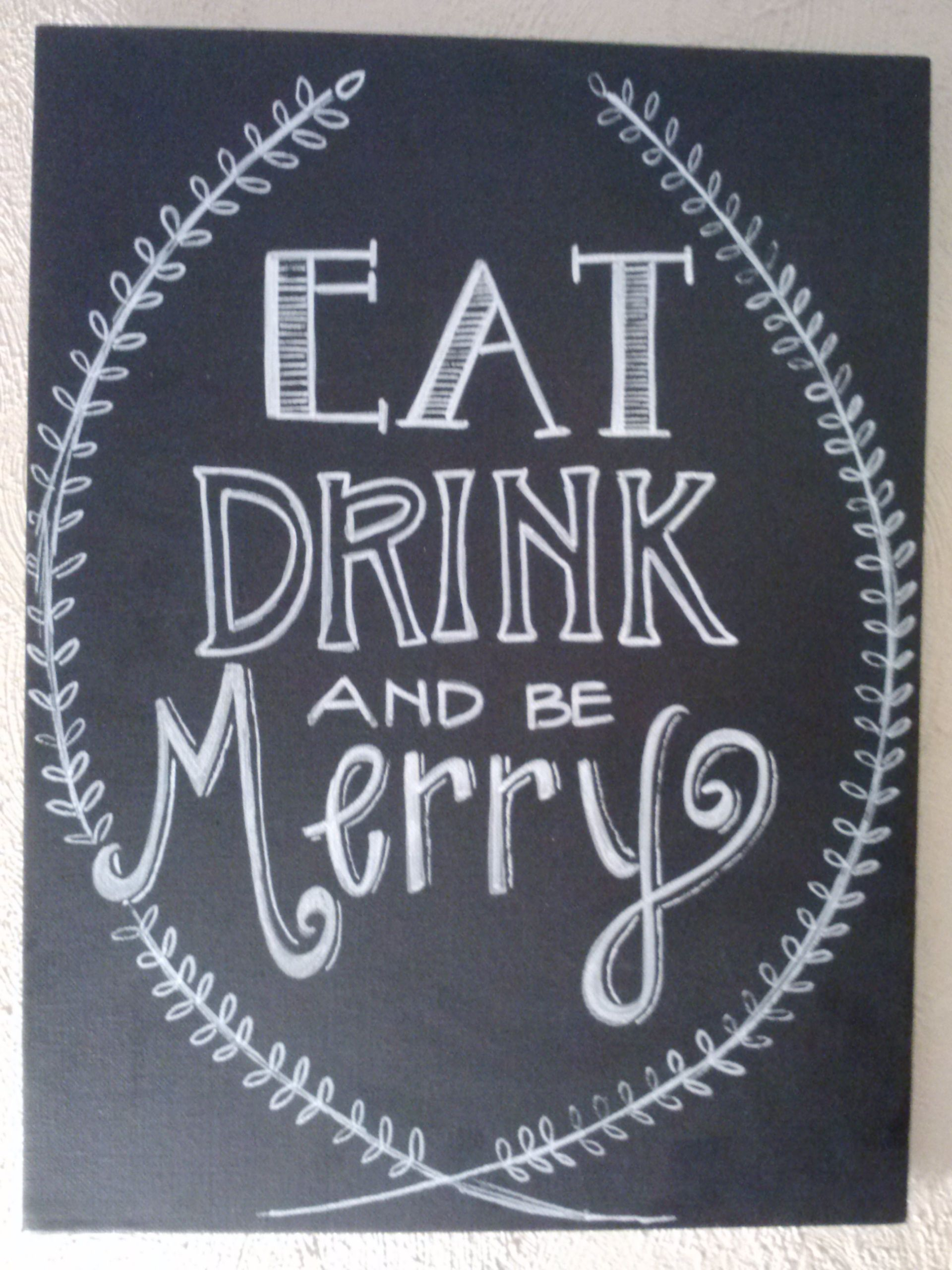 Eat Drink And Be Merry Hand Lettered Chalkboard Chalkboard Printing On Burlap Christmas Signs