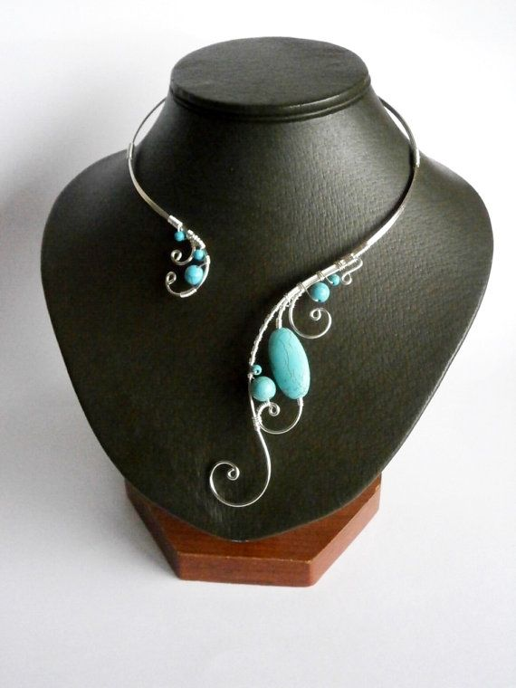 Turquoise Necklace Wire Necklace Silver Necklace by NataliStudio