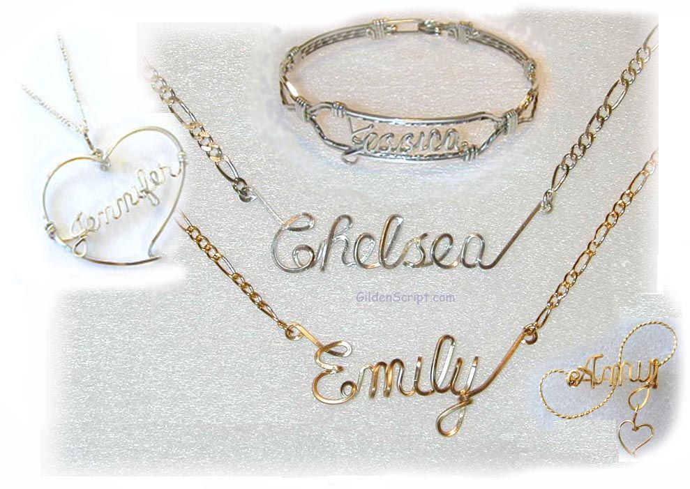 Amazing Gilden Script Handcrafted and Personalized Wire Art Jewelry ...