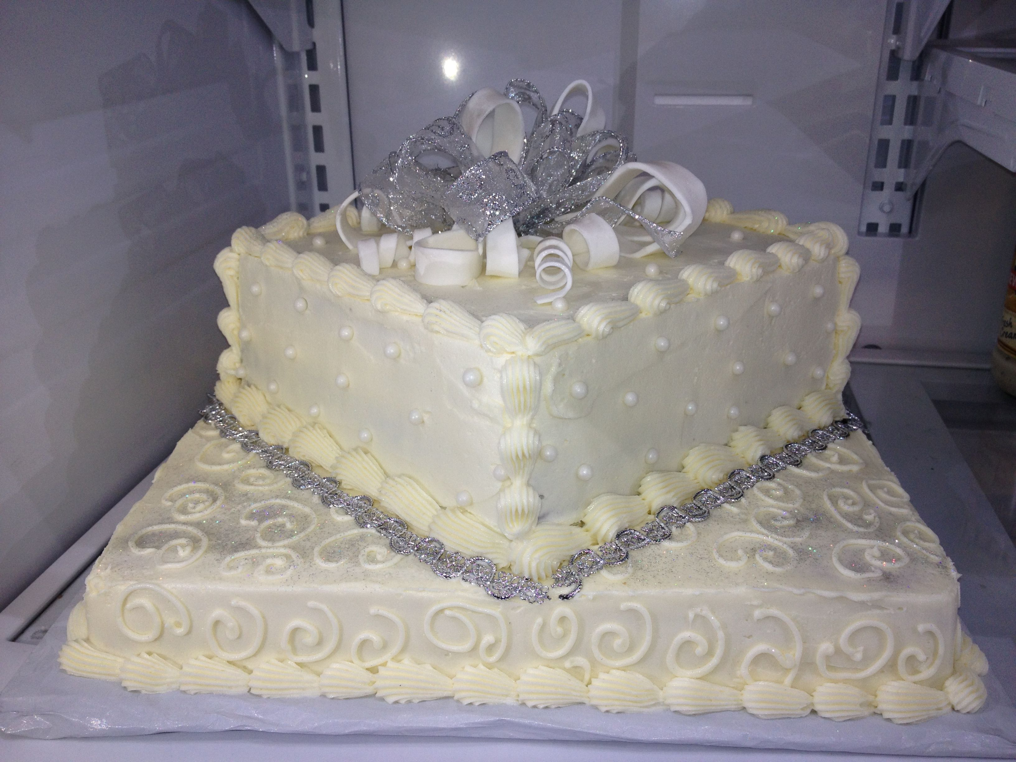 25th anniversary two tier squared cake Anniversary cakes