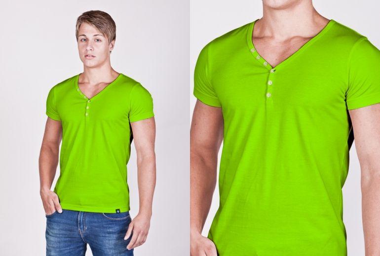 b103db7a0174 Pánské neonové SLIM tričko s knoflíčky ve 3 neonových barvách