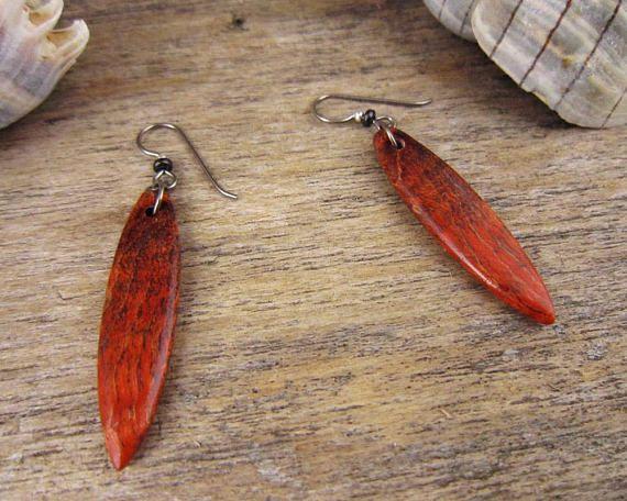 7738222ef5489c Orange Dangle Earrings, Handmade Wood Surfboard Jewelry With Hypoallergenic  Niobium Earring Hooks.