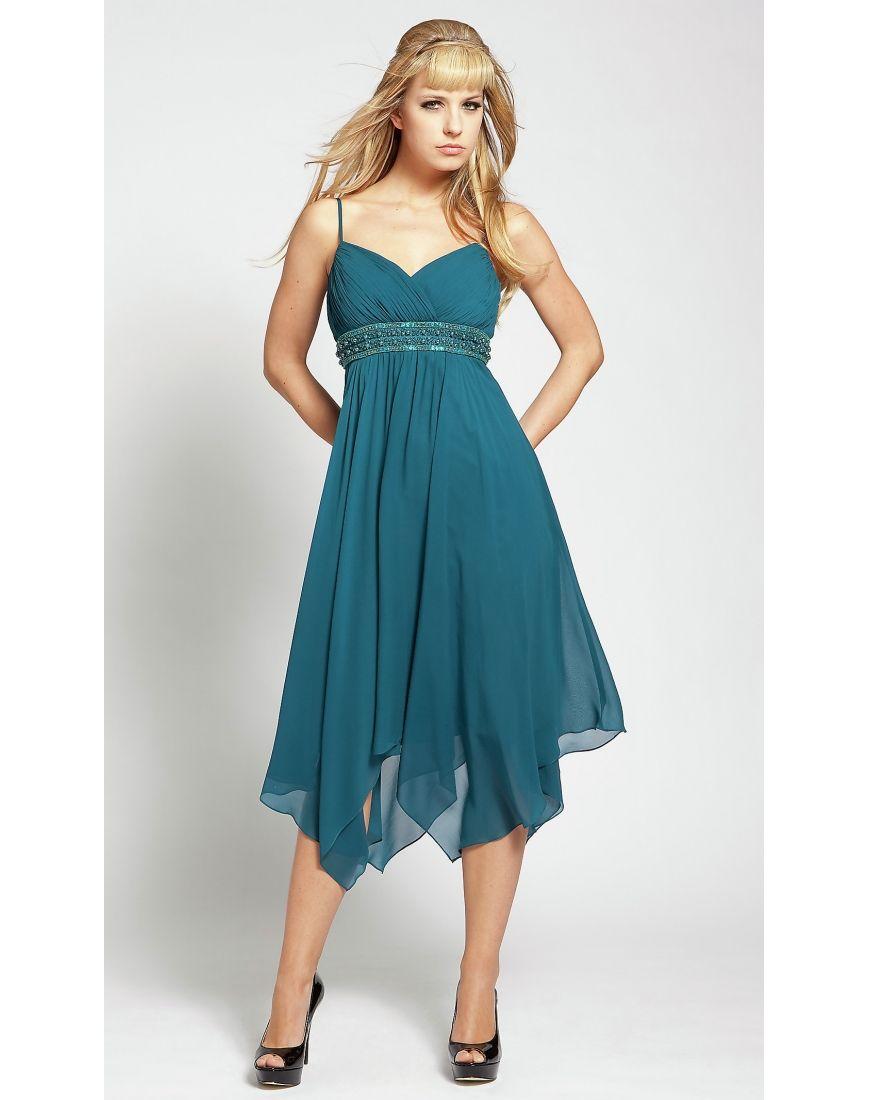 Beautiful & Unique dress - Elegant Beaded Spaghetti Chiffion Green A ...