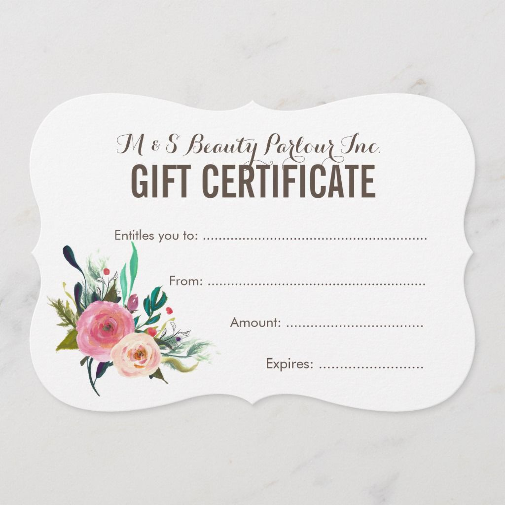 Painted Floral Salon Gift Certificate Template Zazzle Com Gift Certificate Template Free Gift Certificate Template Printable Gift Certificate