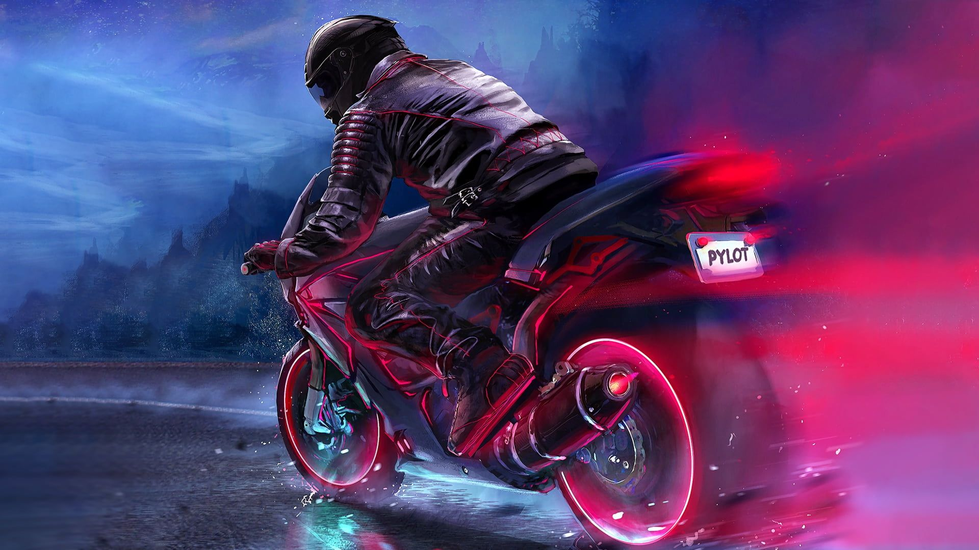 Black And Red Sports Bike Digital Art Motorcycle Pilot Fantasy