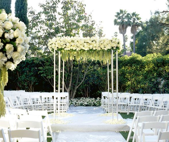 Country Wedding Altar Ideas: Guests Are Seated In A Round For This All-white Wedding