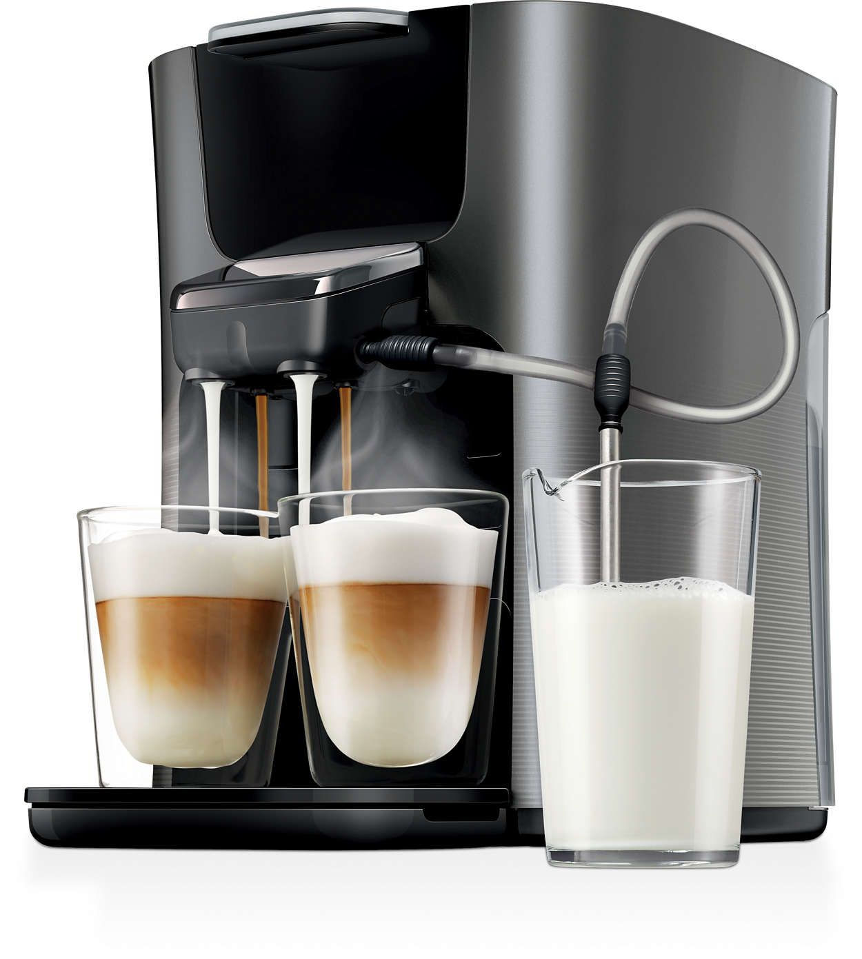 Finally Two Cappuccinos In One Go From Fresh Milk Pod Coffee Machine Coffee Pods Coffee