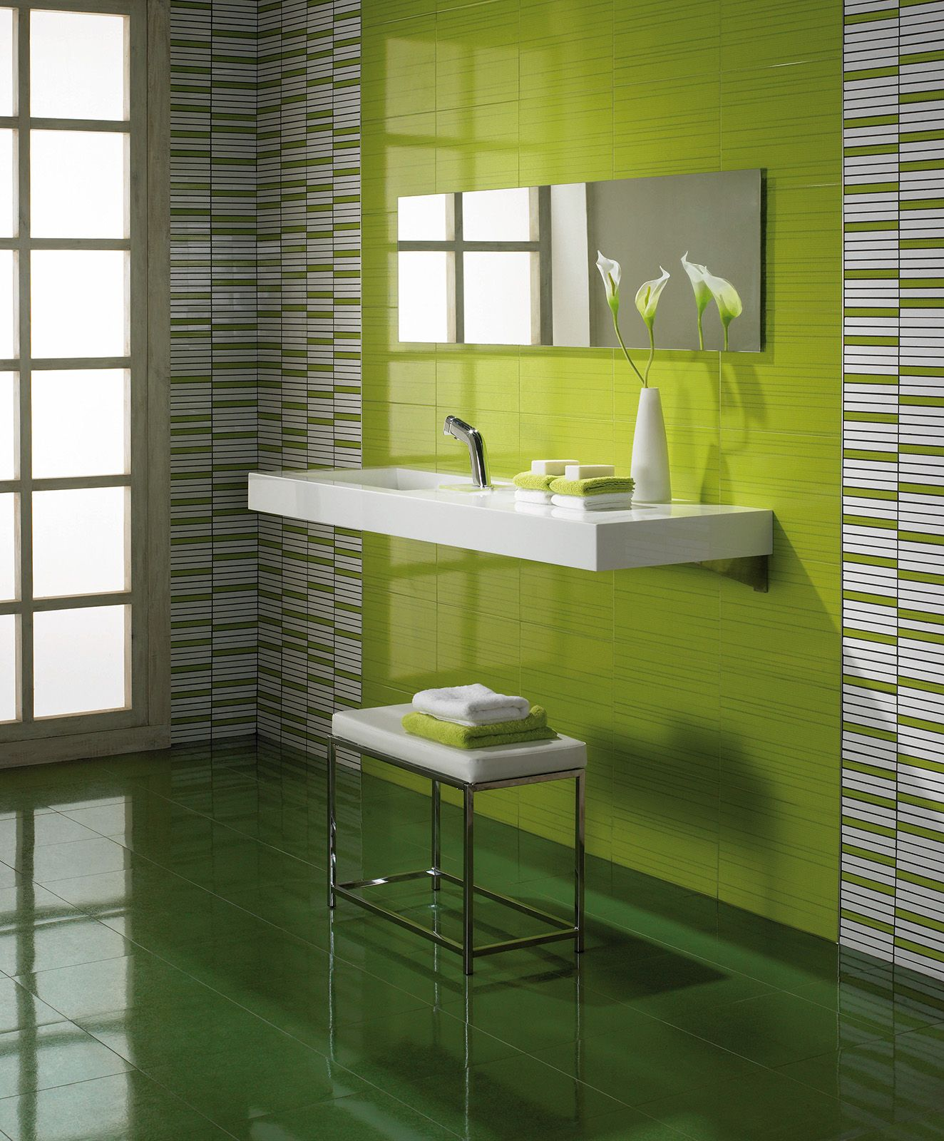 Charming Bright And Light Lime Green Wall Tiles Perfect For A Bathroom, Floating  Sink. Stainless