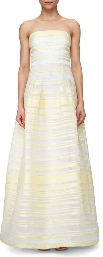 Kay Unger New York Sheer & Solid Striped Ball Gown #kayunger #white #yellow #gown #ballgown #fashion #dress #bridesmaid