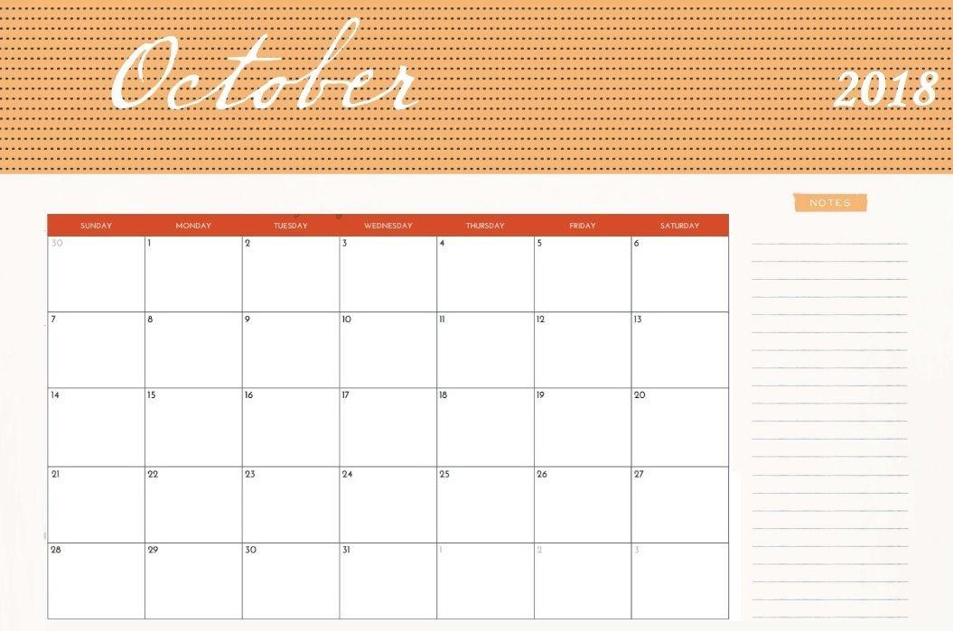 2018 October Calendar Cute DIYs cute Pinterest Calendar