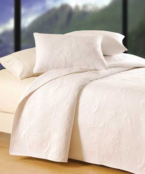Solid White Shell Luxury Oversized Quilt Quilt Sets Bedding Quilt Bedding Bed