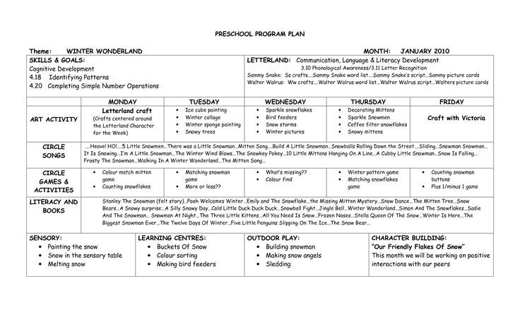 Emergent Curriculum Preschool Lesson Plan Template PRESCHOOL - Making a lesson plan template