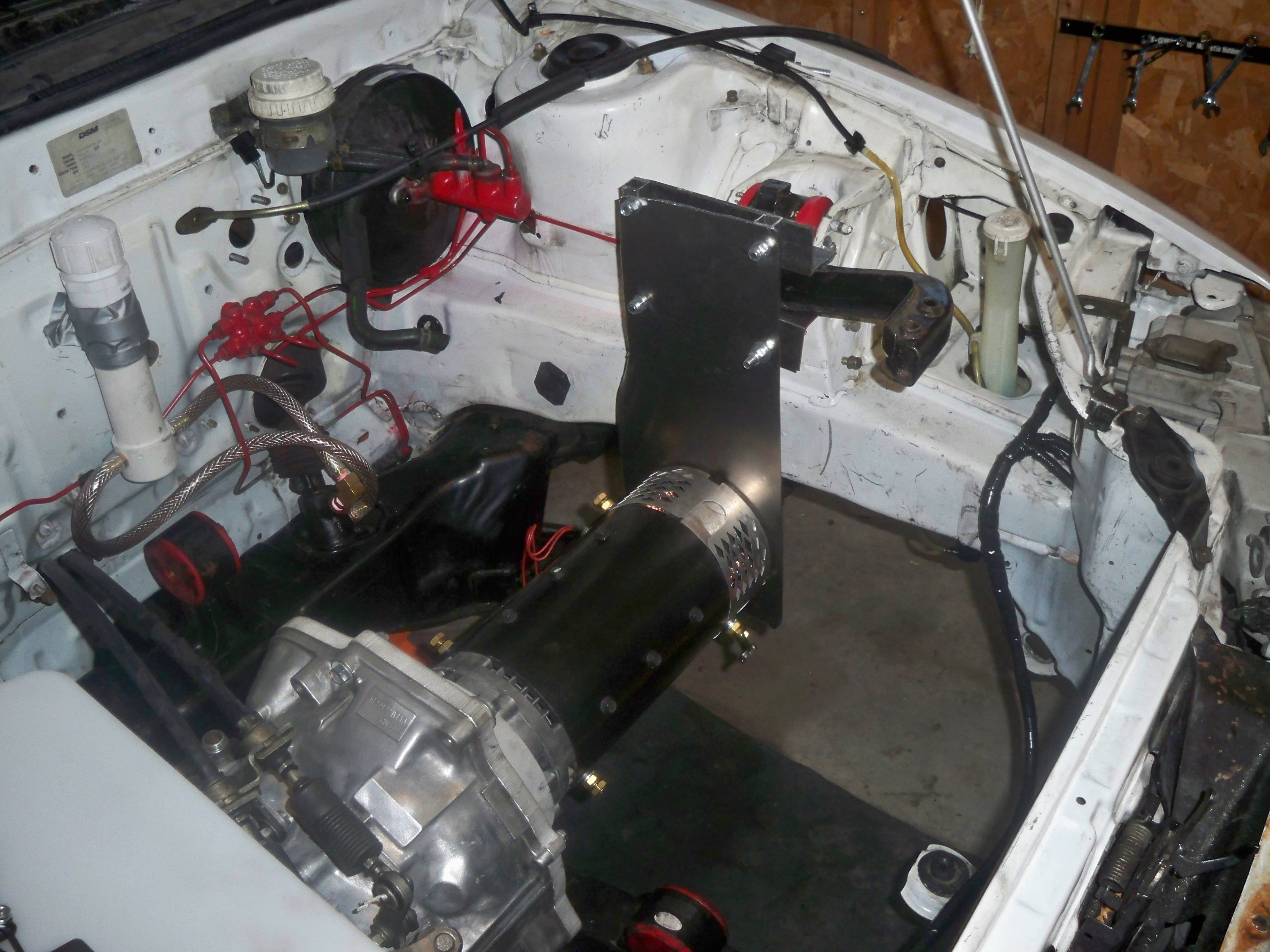 This is the electric motor inside my DIY electric car. It takes up ...