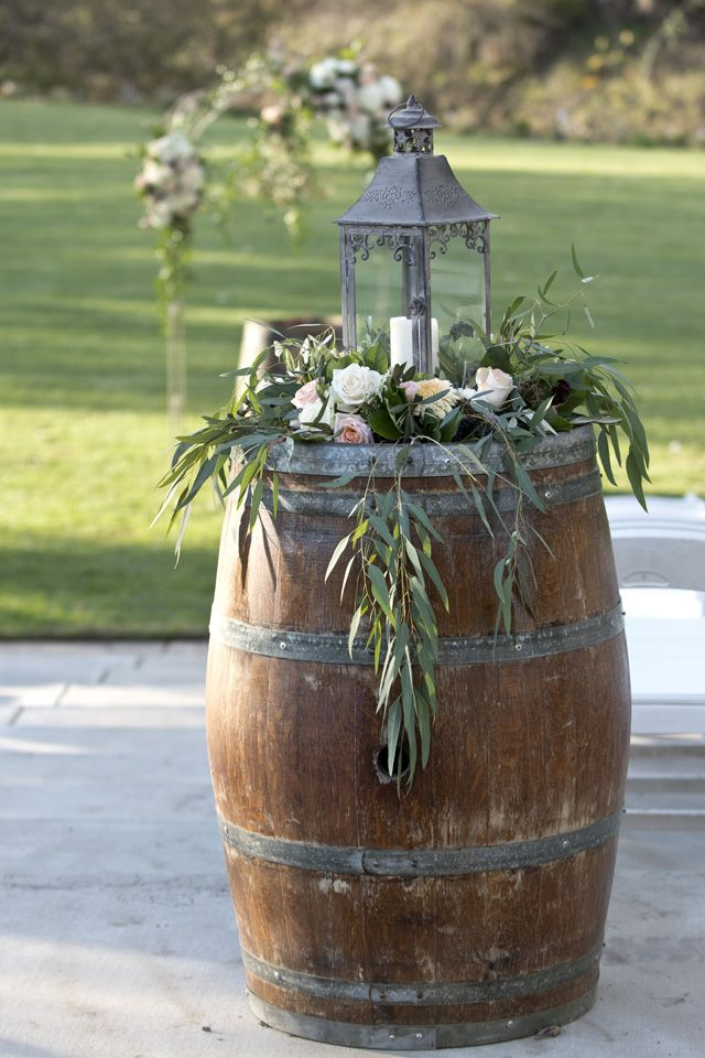 Lantern With Hanging Greens On Wine Barrel Lori Makabe Photography Wine Barrel Wedding Decor Barrel Wedding Decor Wine Barrel Wedding