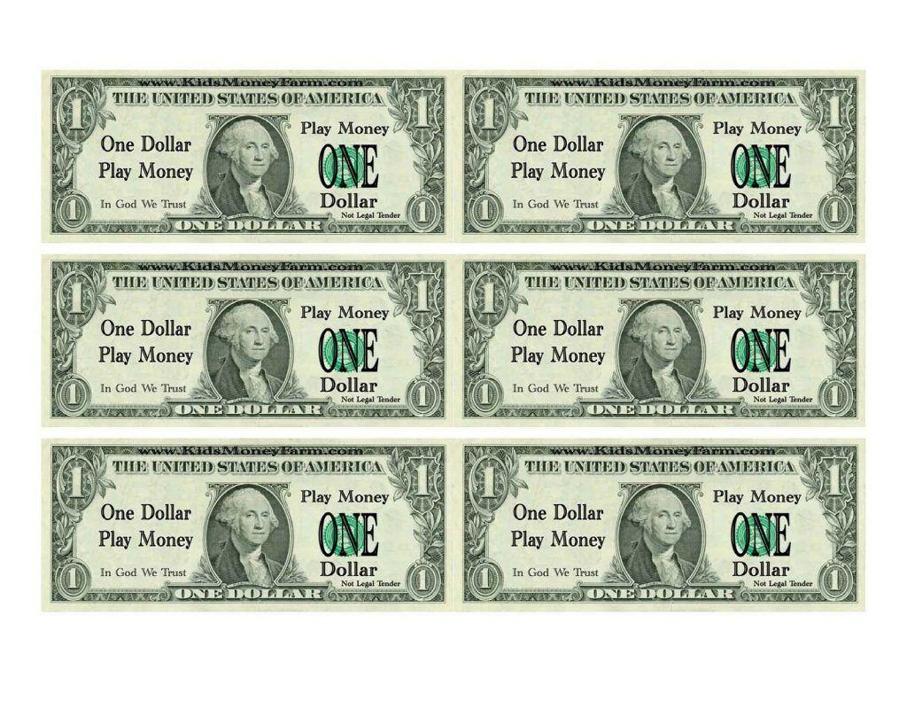 Printable Play Money For Kids Money Printables Money Template Printable Play Money