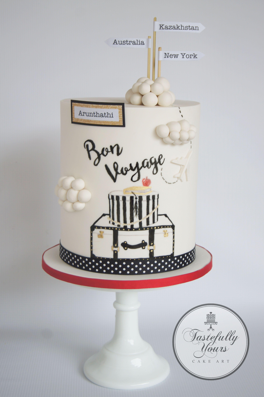 Bon Voyage Cake Bespoke Handpainted Design By Tastefully Yours