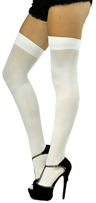 7a99b6d8ef6c4 ToBeInStyle Women's Long Schoolgirl Stockings - One Size - White ...