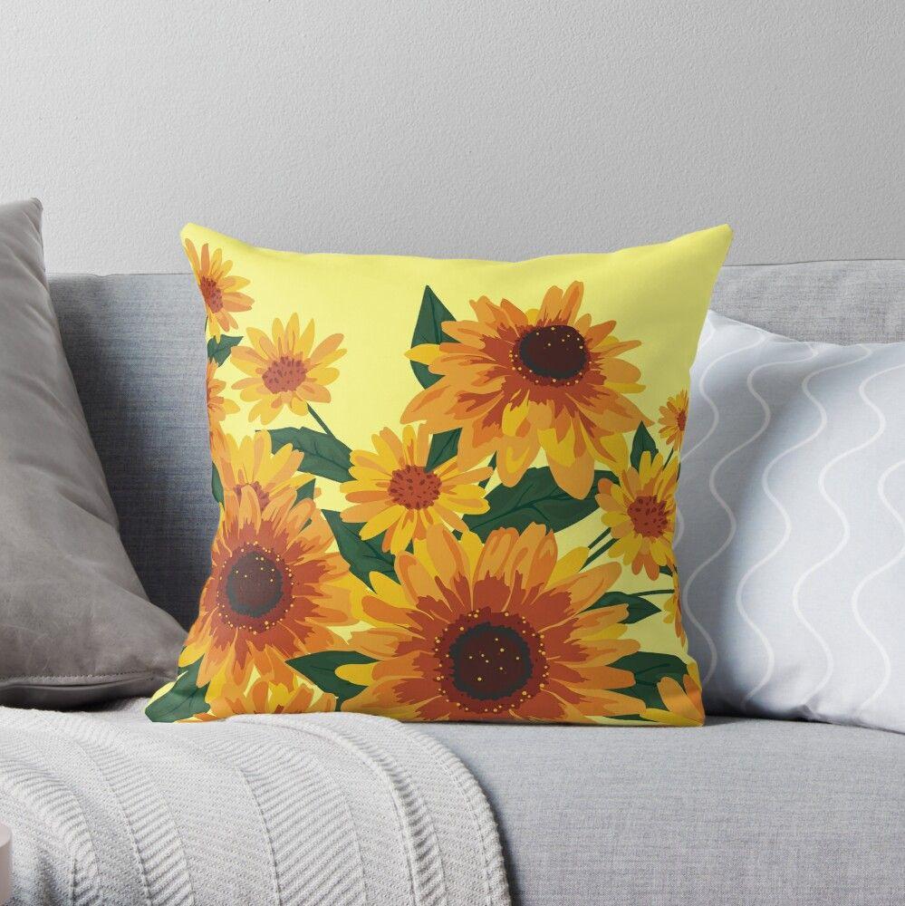 September Garden Yellow Flowers Throw Pillow By Lents Flower Throw Pillows Throw Pillows Pillows