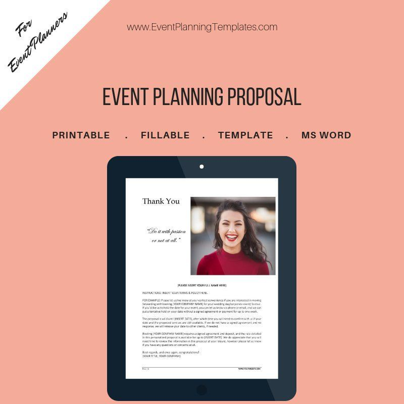 Event Planning Proposal for Event and Wedding Planners Customizable - Event Plan Template