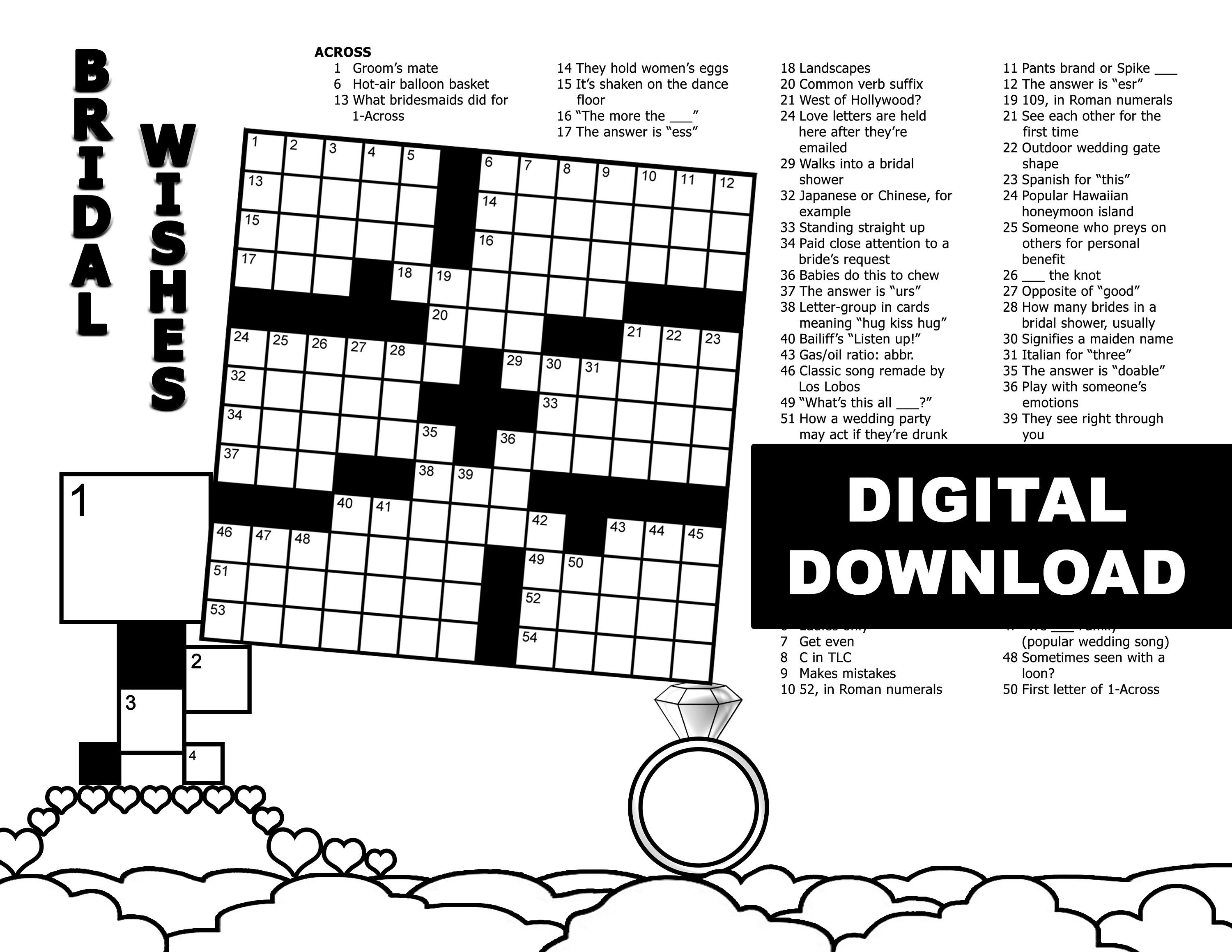 Bridal Shower Crossword 13x13 Grid Black White Digital Download