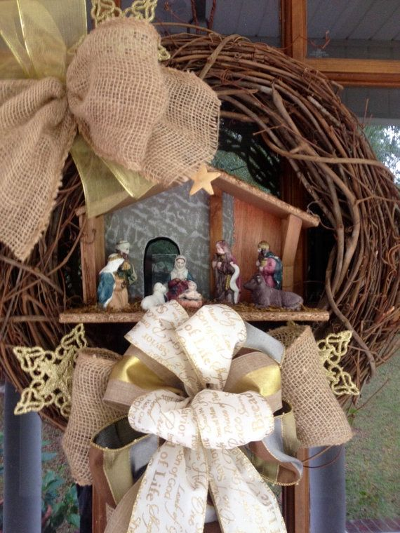 Nativity Wreath / Manger Scene Christmas Wreath ...