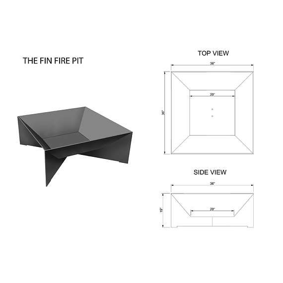 Photo of The Fin Fire Pit 36″ – Steel Modern Metal bowl firepit top cover
