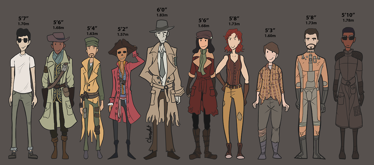 Hey Look I Found The Old Fallout 4 Companion Height Chart I Made And Mothtrap Was Nice Enough To Colour And Detail Probabl Fallout Art Fallout Fallout Funny