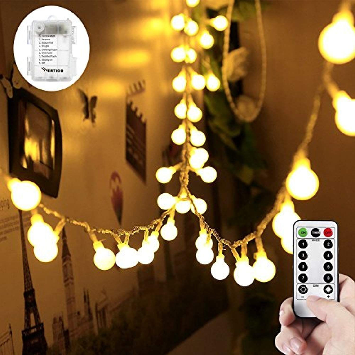 Wertioo 33ft 100 Leds Battery Operated String Lights Globe Fairy