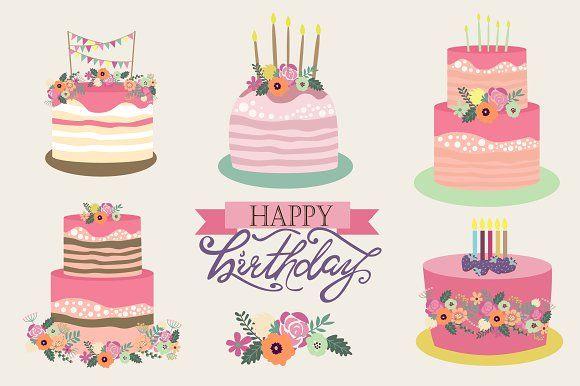 Set of sweet birthday cake by Mio Buono on @creativemarket