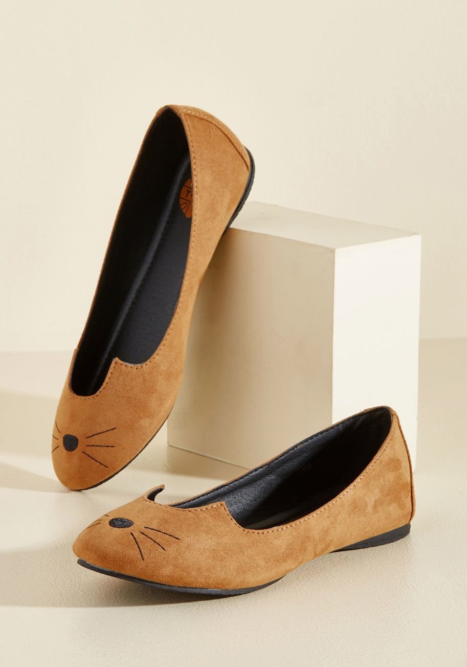 185f6aa9c Best cat shoes I've seen yet! They're vegan faux fur ballet flats with cat  nose and whiskers. $59.99 at Modcloth.