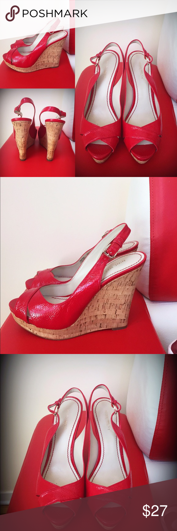 NINE WEST RED PLATFORM SANDALS Worn once or twice,max! Very comfortable and easy to walk in. Feel free to bundle🎊🎁🎈🎉🌹👍🏻 Nine West Shoes Platforms
