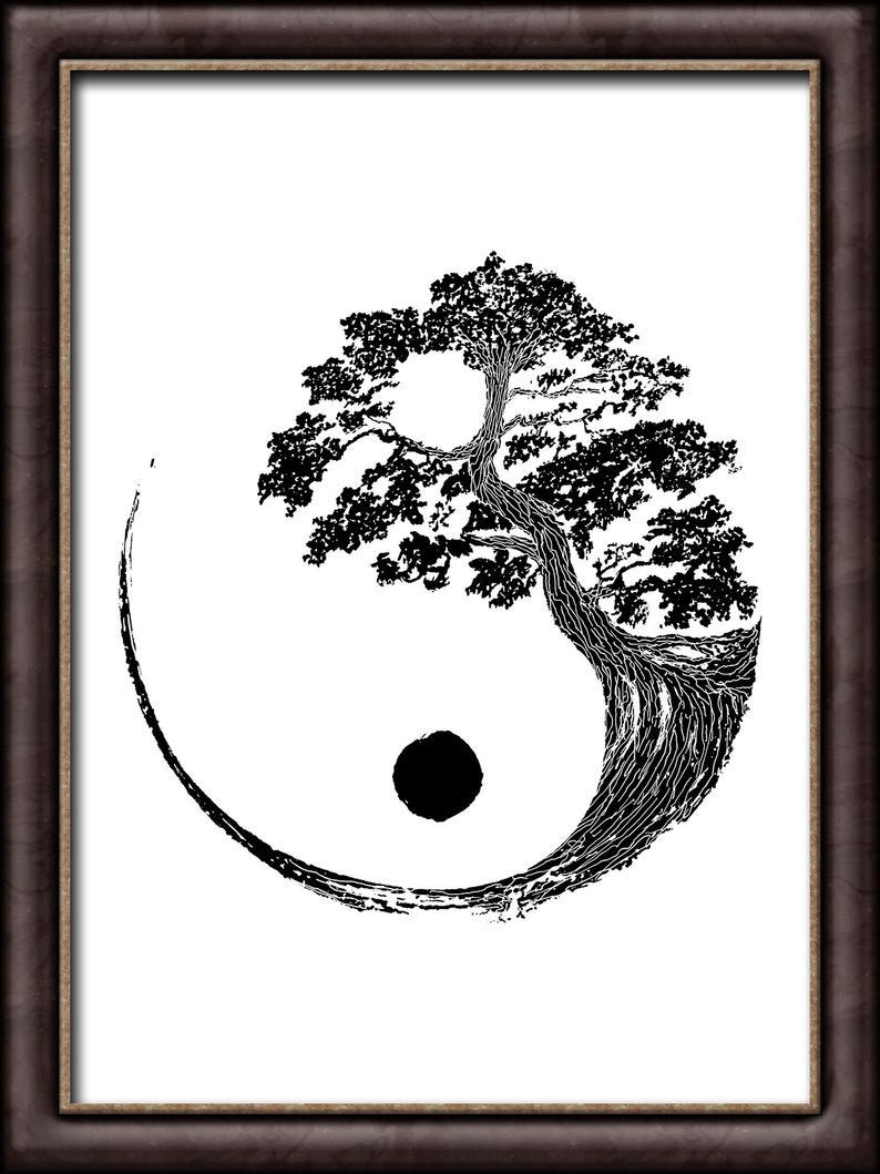 Yin Yang Bonsai Tree Instant Download Japanese Buddhist Zen Etsy Japanese Tattoo Art Zen Wall Art Art