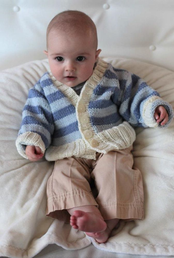Striped Baby Cardigan in Plymouth Yarn Dandelion - 2251 ...