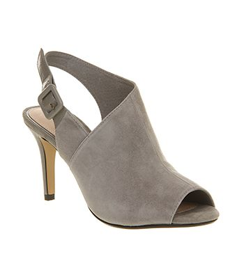 Office Gauntlet Cut Out Shoe Boot Grey Suede - Mid Heels