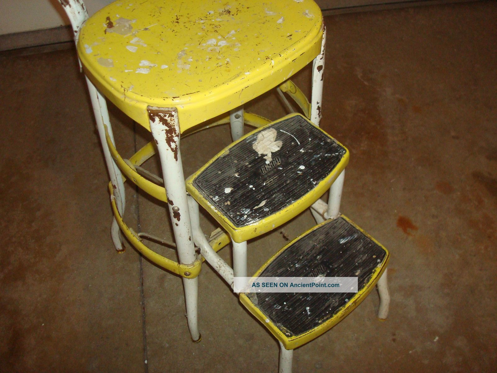 vintage kitchen step stool chair price pfister faucet cosco stools chairs retro yellow