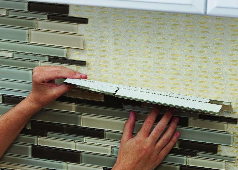 Simple Installation Of Tile Backsplashes Using Adhesive Tile Mats Diy Backsplash Cheap Kitchen Decor Diy Kitchen Backsplash