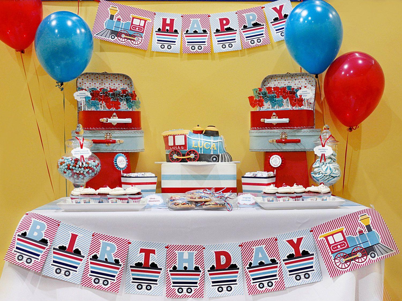 DIY printable happy birthday banner - choo choo train. $6.00, via Etsy.