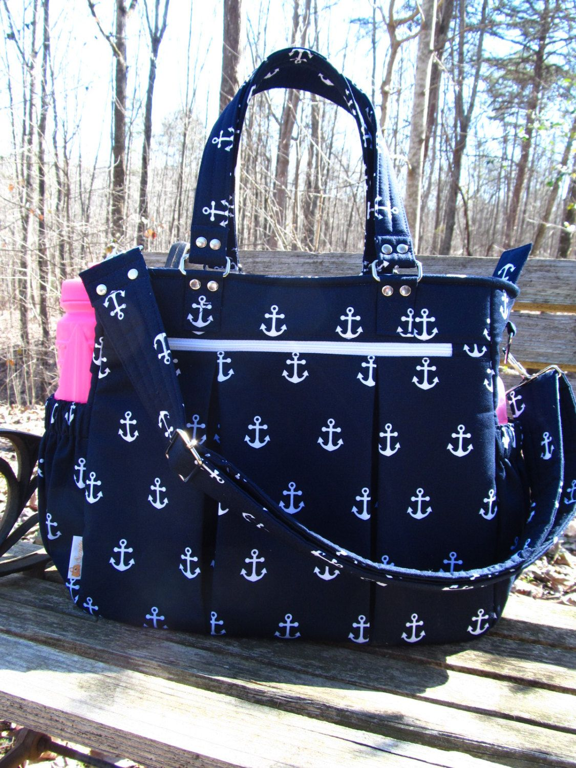 9701758e104142 PRE_ORDER *** Diaper Bag/Baby Bag/Weekender Bag/Travel Bag/Gym Bag-White  Anchors on Navy/Nautical Blue Background Fabric - pinned by pin4etsy.com