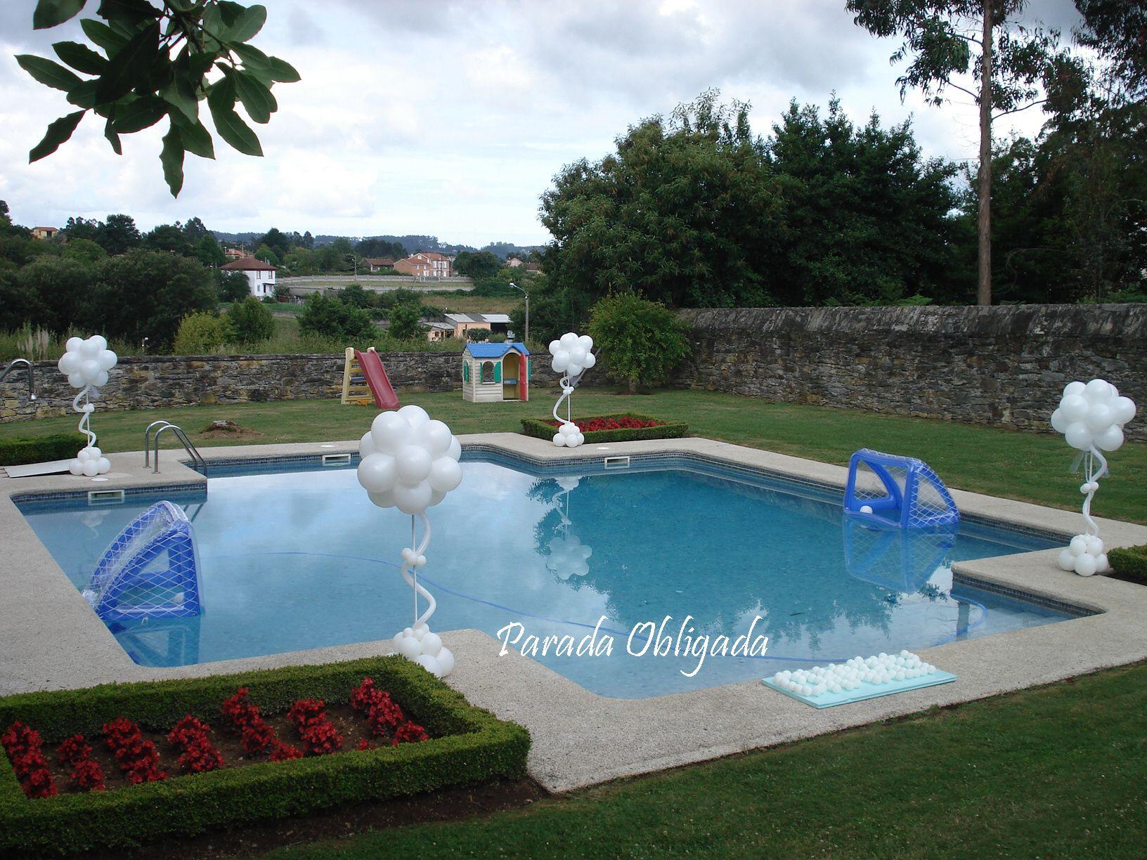 Decoracion piscina con globos decorac n comuniones for Decoracion para albercas