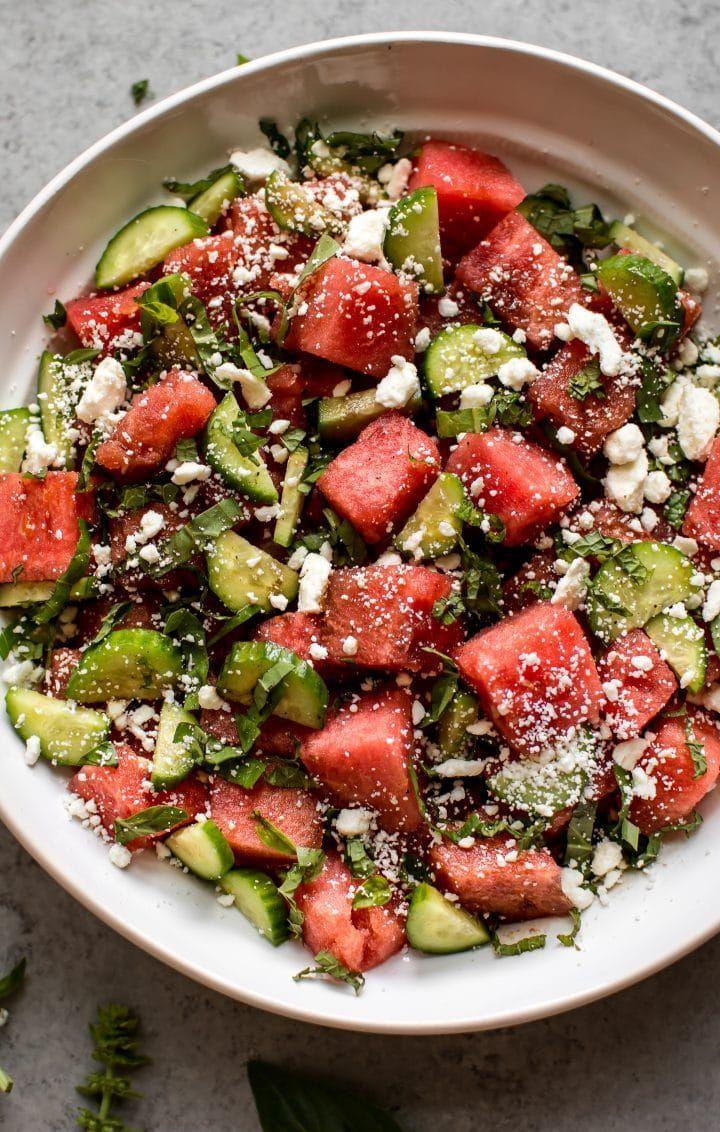 Simple Watermelon Feta Salad with Cucumber, Basil, and Mint • Salt & Lavender