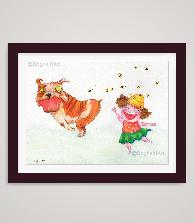 Bees Watercolor Bulldog Print Watercolor Animal Print Baby Girl